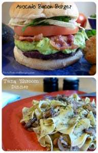 Avocado Bacon Burger and Tuna 'Shrooma Collage