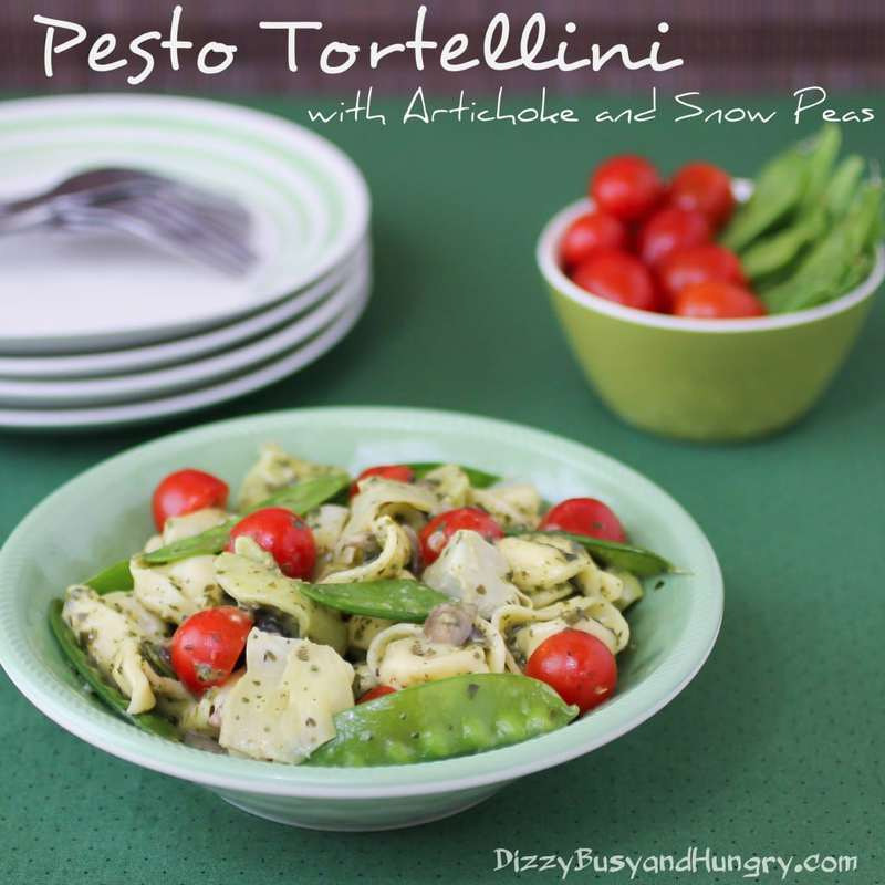 pesto tortellini with artichoke and snow peas 1