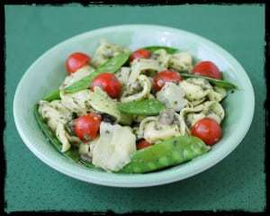 pesto tortellini with artichoke and snow peas 2