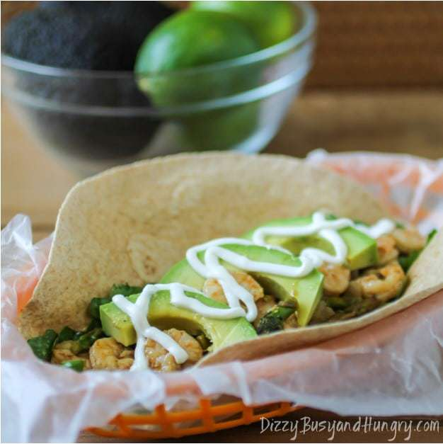 Chipotle Shrimp and Asparagus Soft Tacos