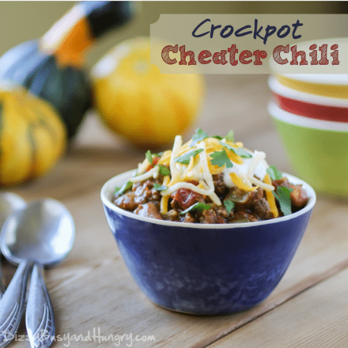 Crockpot Cheater Chili from DizzyBusyandHungry.com