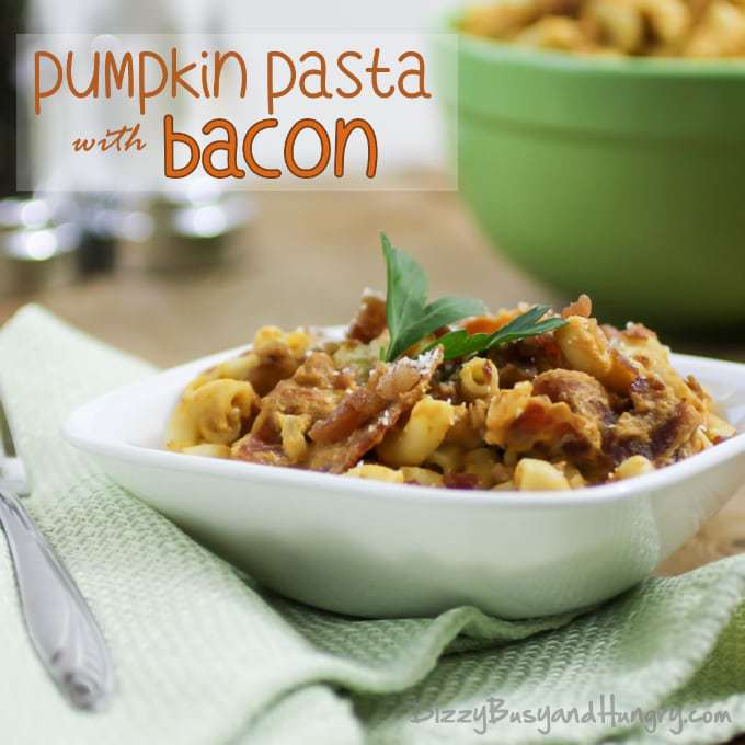 Pumpkin Pasta with Bacon from DizzyBusyandHungry.com #pasta #bacon #pumpkin