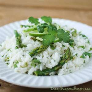 Cilantro Lime Asparagus and Rice from DizzyBusyandHungry.com