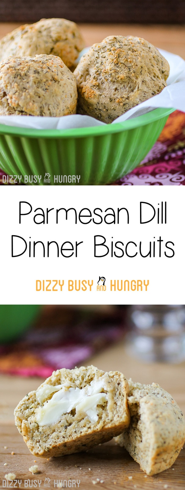 Parmesan Dill Dinner Biscuits | DizzyBusyandHungry.com - Delicious whole wheat dinner biscuits jazzed up with dill and parmesan cheese, perfect as starters or companions to just about any entree!