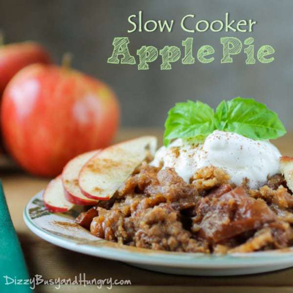 Slow Cooker Apple Pie from DizzyBusyandHungry.com