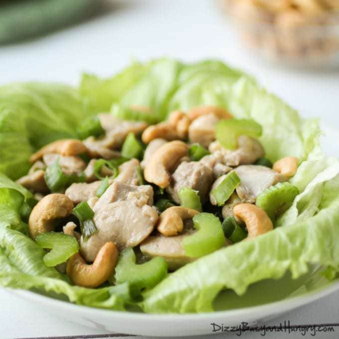 Chicken and Cashew Lettuce Wraps | DizzyBusyandHungry.com #chicken # ...