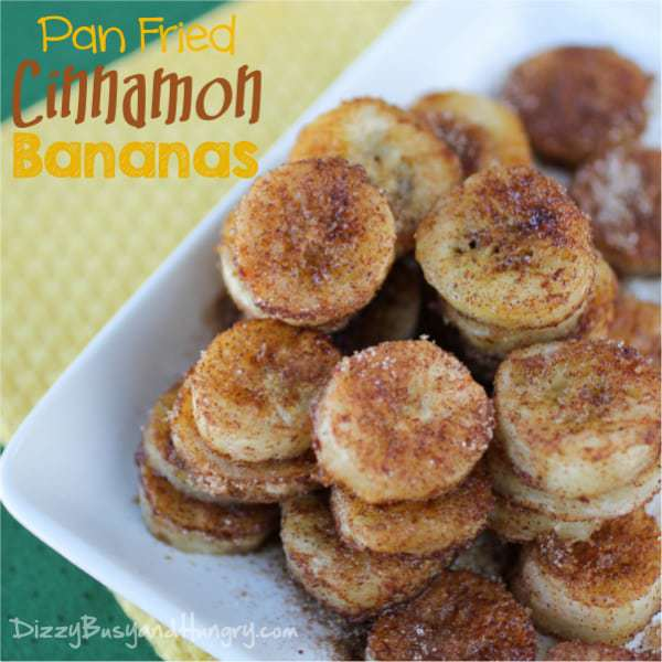Pan Fried Cinnamon Bananas | DizzyBusyandHungry.com #bananas #cinnamon