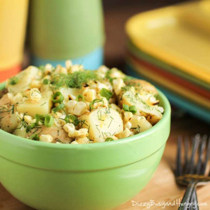 Potato and Grilled Corn Salad | DizzyBusyandHungry.com - Lightened-up, tangy potato salad made with grilled corn, green onions, and fresh dill. #potatosalad #sidedish