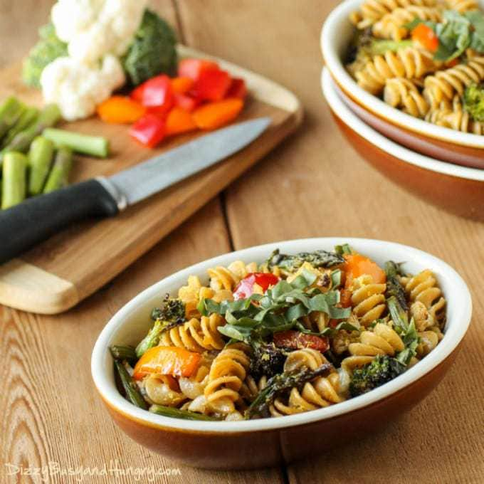 Roasted Veggie Rotini | DizzyBusyandHungry.com - Whole grain pasta combined with an array of roasted vegetables and seasoned with a tasty balsamic vinegar dressing. #healthy #vegetables #pasta