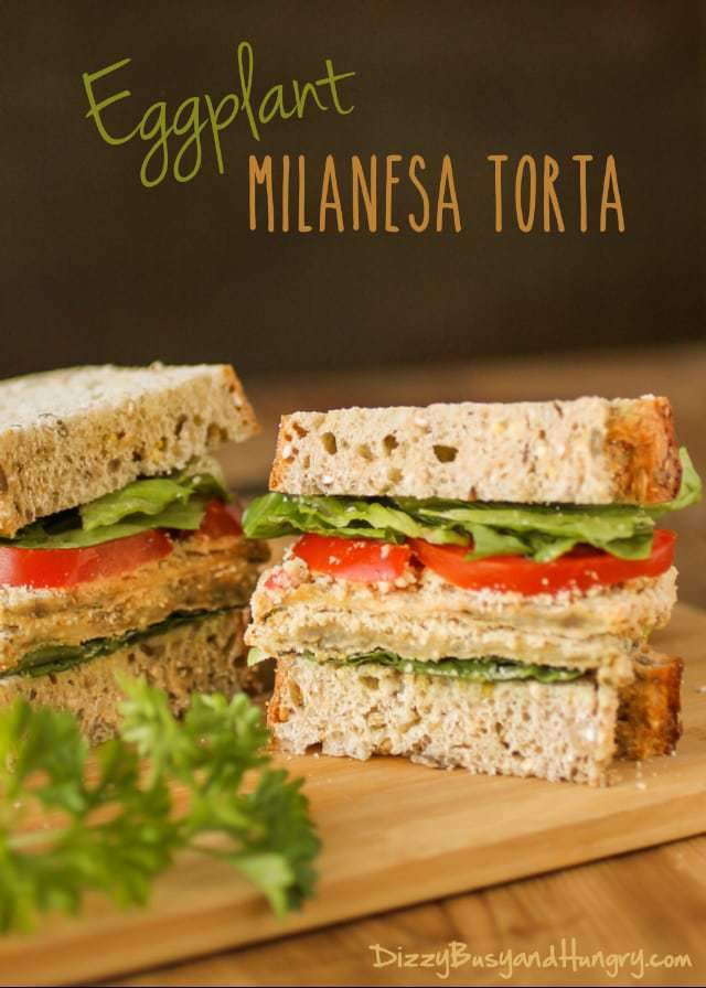 Eggplant Milanesa Torta | DizzyBusyandHungry.com - Breaded slices of eggplant baked until crispy and served hot with lettuce and tomato on artisan multigrain bread. #eggplant #sandwich #vegetarian