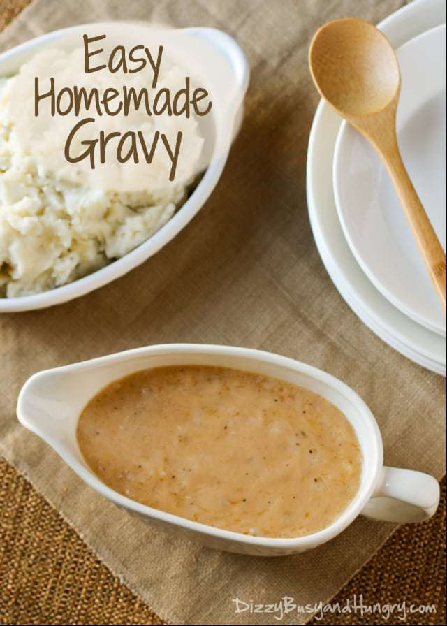 Easy Homemade Gravy | DizzyBusyandHungry - Easy, delicious, and no meat drippings required! #gravy #dinner #thanksgiving