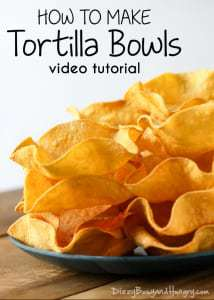 Tortilla Bowls | DizzyBusyandHungry.com - Check out this video tutorial for a quick and easy way to make your own delicious and fun-to-eat tortilla shells! #tortillabowls #mexicanfood #snack