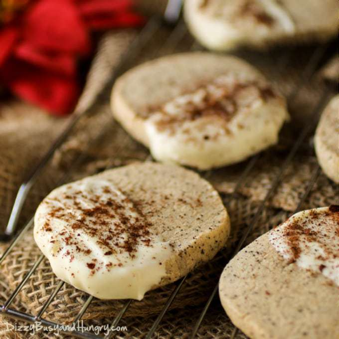 White Chocolate Dipped Coffee Shortbread Cookies | DizzyBusyandHungry ...