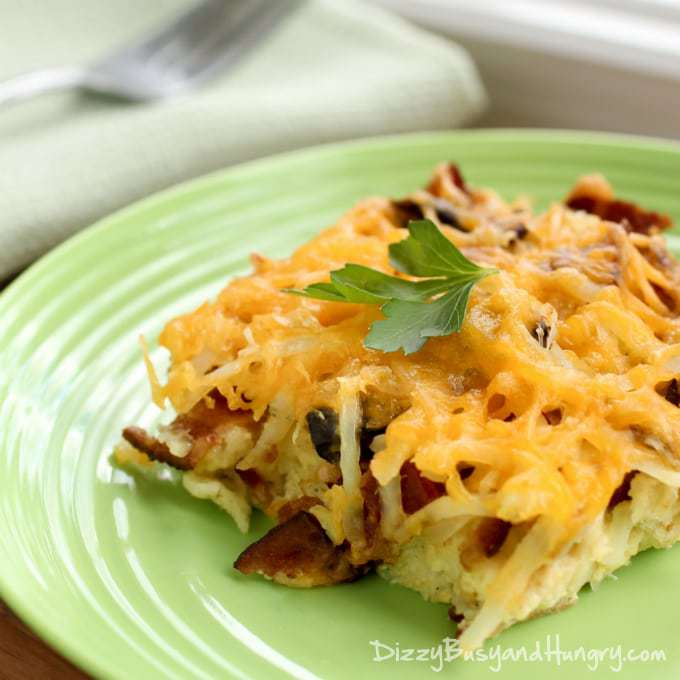 Bacon Breakfast Casserole | DizzyBusyandHungry.com - Combine all of your breakfast favorites in this hot, cheesy casserole!