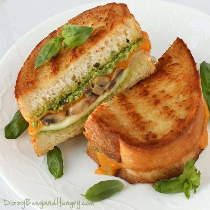 Broccoli Pesto Mushroom Grilled Cheese | DizzyBusyandHungry.com - Delicious, hearty grilled cheese sandwich perfect for lunch or a quick and easy dinner!