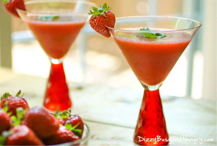 Frozen Strawberry Basil Margaritas | DizzyBusyandHungry.com - This sweet, refreshing cocktail with real strawberries and fresh basil is the perfect drink for a lazy summer afternoon!