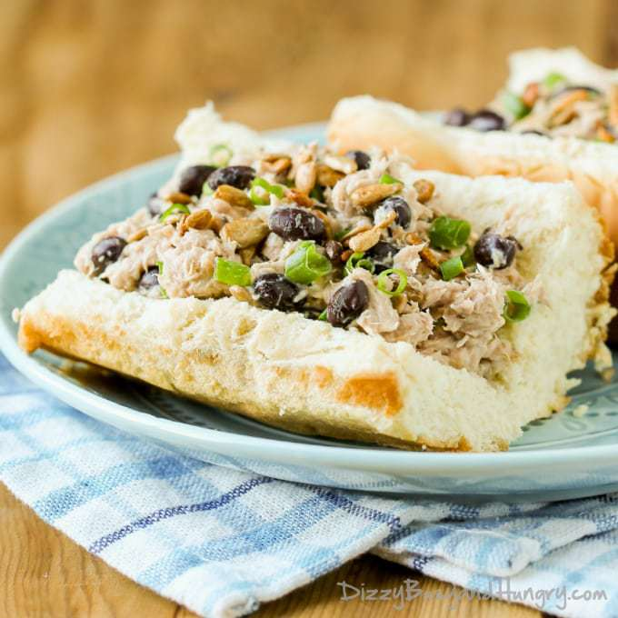Black Bean Ranch Tuna Salad   DizzyBusyandHungry.com - Tired of the same old lunch? Try this super-tasty and nutritious tuna salad!