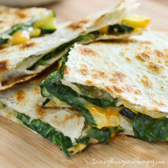 Cheesy Zucchini Spinach Quesadillas | DizzyBusyandHungry.com - Your kids will actually REQUEST this dinner, even though it is chock full of veggies!