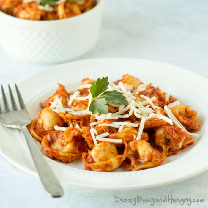 One Skillet Tortellini and Zucchini | DizzyBusyandHungry.com - Quick, nutritious, delicious, and easy to clean up!