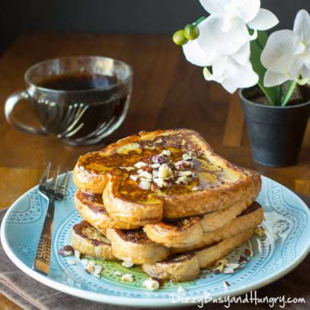 Kahlua and Cream French Toast | DizzyBusyandHungry.com - Elegant variation on French toast incorporating the coffee-infused sweet flavor of Kahlua!