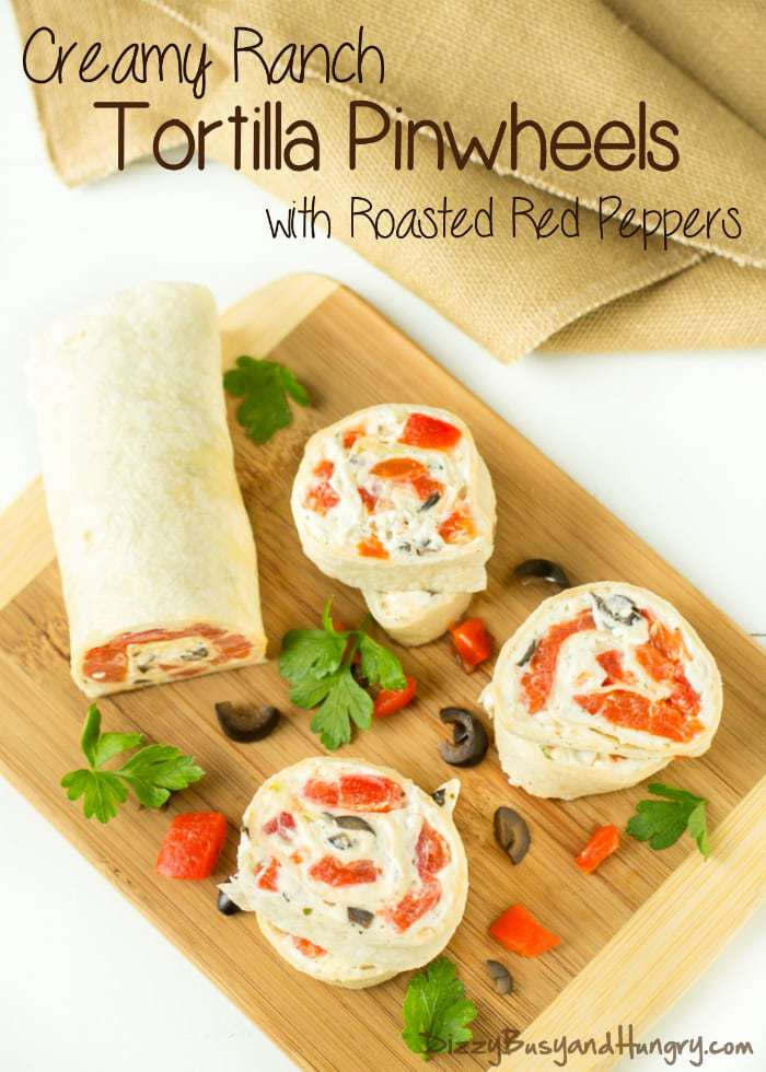 Creamy Ranch Tortilla Pinwheels with Roasted Red Peppers #SundaySupper | DizzyBusyandHungry.com - Easy, fun, and so tasty! This is a perfect contribution to a potluck!
