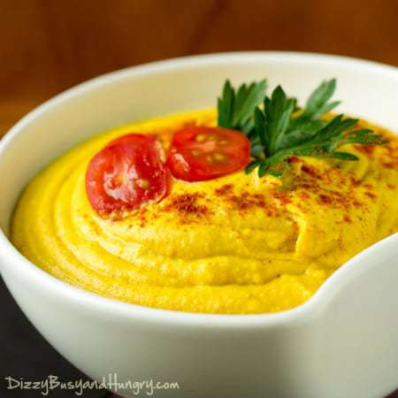 Turmeric Hummus | DizzyBusyandHungry.com - Not only is this hummus tasty, it's also packed with cancer-fighting ingredients!