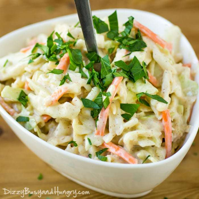 Chipotle Lime Coleslaw, shared by Dizzy, Busy & Hungry at The Chicken Chick's Clever Chicks Blog Hop