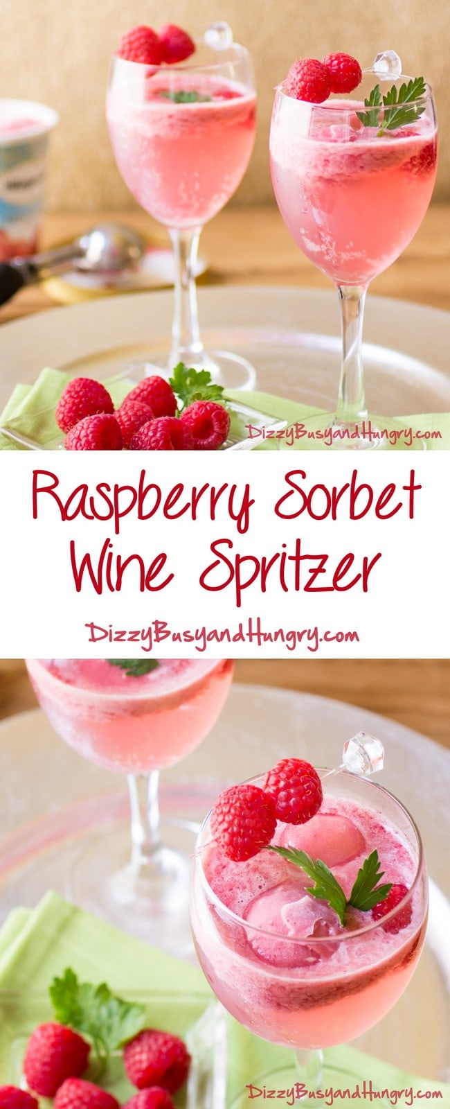 Raspberry Sorbet Wine Spritzer | DizzyBusyandHungry.com - So pretty, refreshing, and delicious! Perfect to serve for a summer evening gathering!