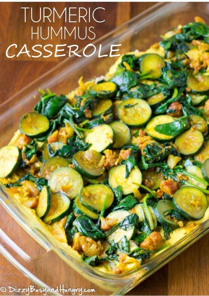 Turmeric Hummus Casserole | DizzyBusyandHungry.com - Creamy, flavorful, and packed with the nutritional and cancer-fighting powers of veggies and turmeric!