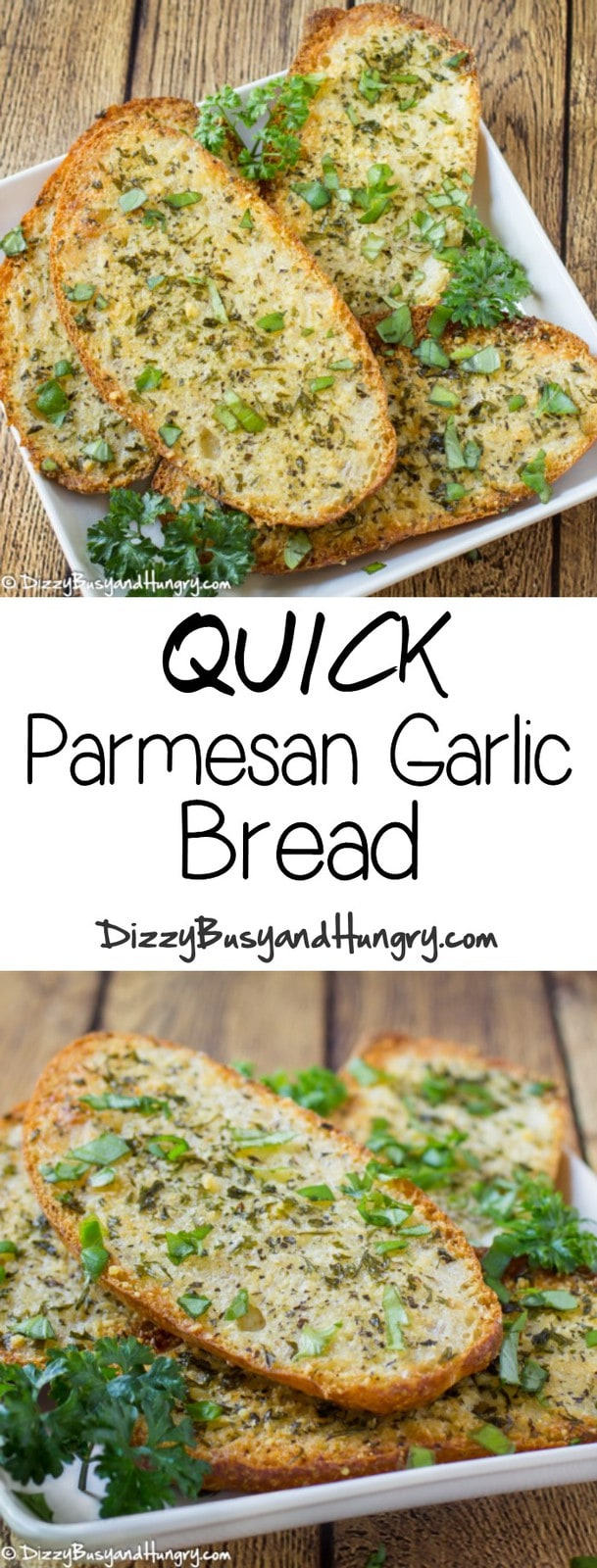 Quick Parmesan Garlic Bread | DizzyBusyandHungry.com - Super-easy, better than store-bought, and a great way to use up leftover bread or rolls!