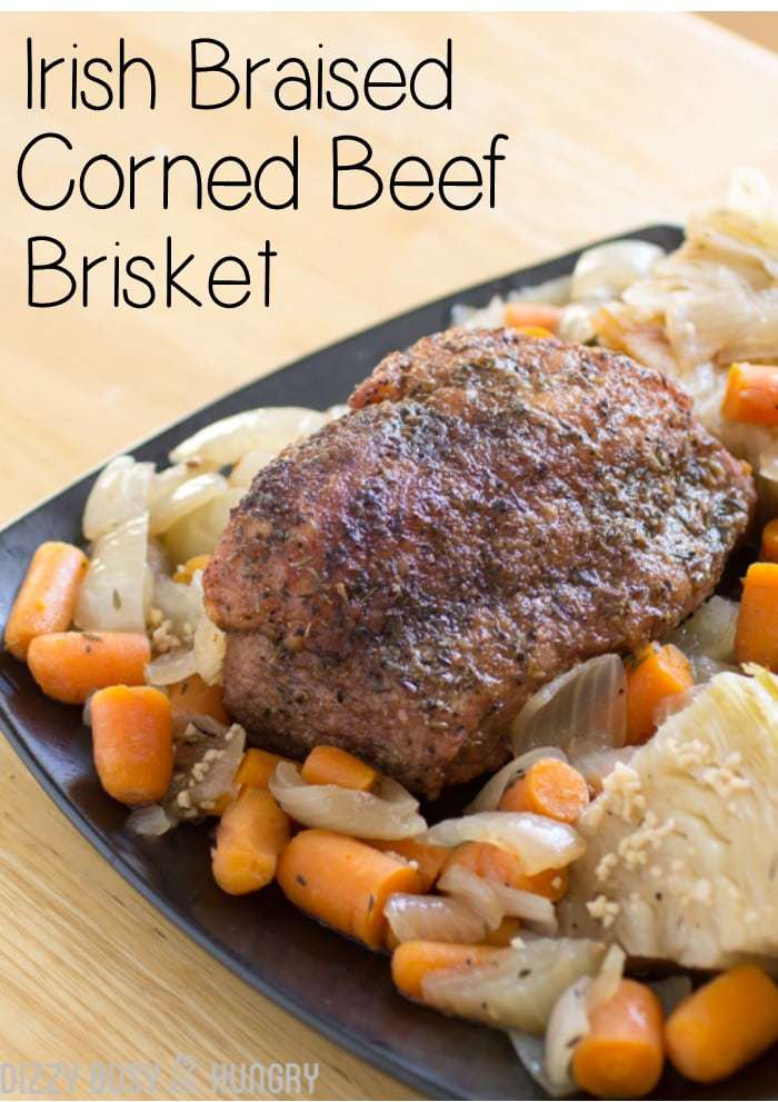 Irish Braised Corned Beef Brisket | DizzyBusyandHungry.com - Delicious corned beef and cabbage dinner made easy!