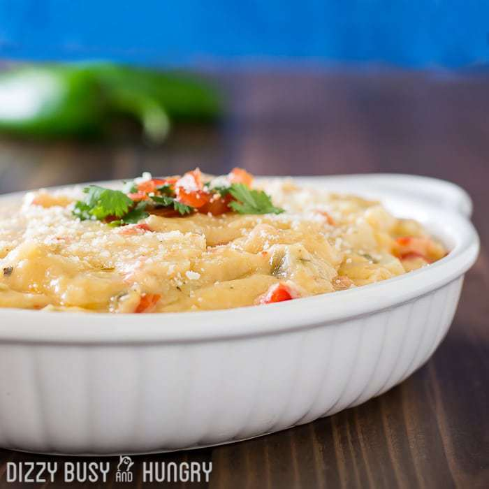 Lightened Up Queso Dip | DizzyBusyandHungry.com - Cheesy, creamy, and most of all delicious, this dip has so much flavor, it is no problem to hide a veggie in there to notch up the smartness of this snack!