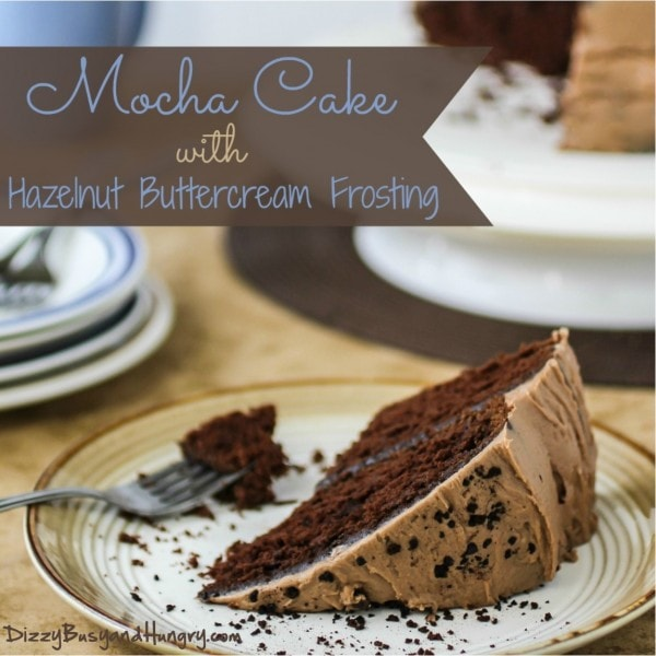 mocha cake with hazelnut buttercream frosting