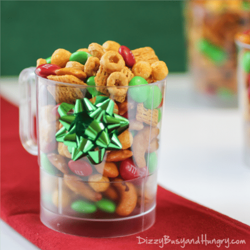 Elf Nibbles | DizzyBusyandHungry.com - Festive and fun, sweet, salty, crunchy, and addictive snack mix!