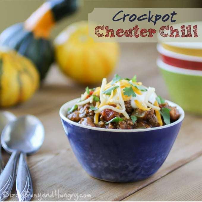 Crockpot Cheater Chili from DizzyBusyandHungry.com #chili #salsa #slowcooker