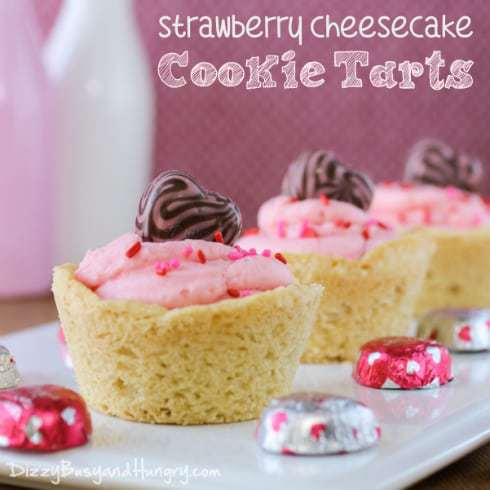 strawberry cheesecake cookie tarts title
