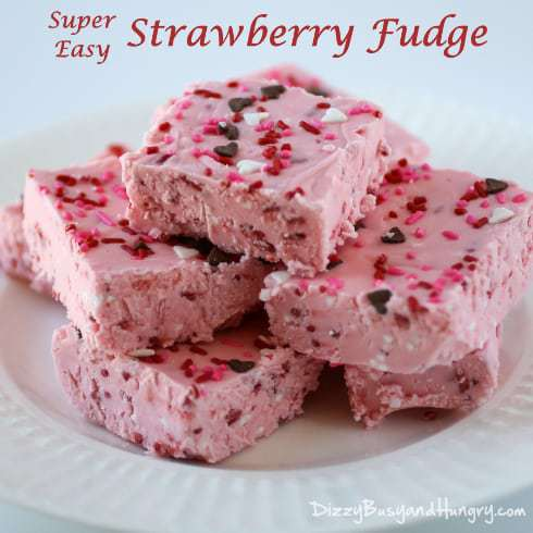 Super Easy Strawberry Fudge - Super-easy and super-decadent treats for Valentine's Day or any day!