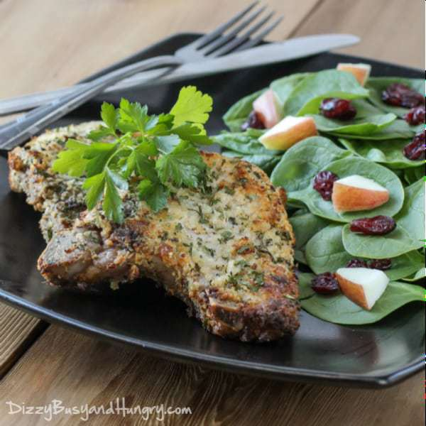 Blue Cheese Encrusted Pork Chops from DizzyBusyandHungry.com