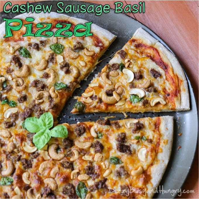 Cashew Sausage Basil Pizza from DizzyBusyandHungry.com #pizza #sausage #cashews