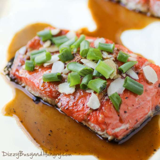 Maple Glazed Salmon with Almonds | Dizzy Busy and Hungry!