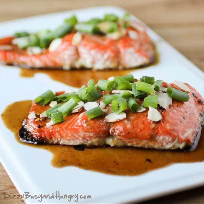 Maple Glazed Salmon with Almonds from DizzyBusyandHungry.com #salmon #fishrecipes #maindish