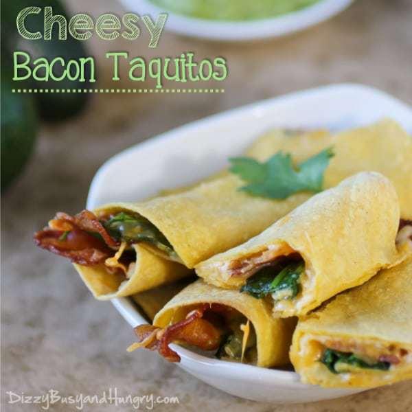 Cheesy Bacon Taquitos   DizzyBusyandHungry.com #easyrecipe #bacon #taquitos