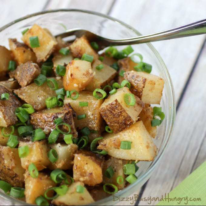 Chipotle and Garlic Grilled Potatoes from DizzyBusyandHungry.com #potatoes #spicy #sidedish