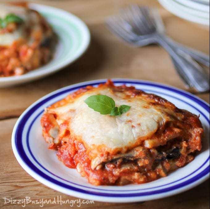 Eggplant Polenta Lasagna from DizzyBusyandHungry.com #lasagna #eggplant #casserole