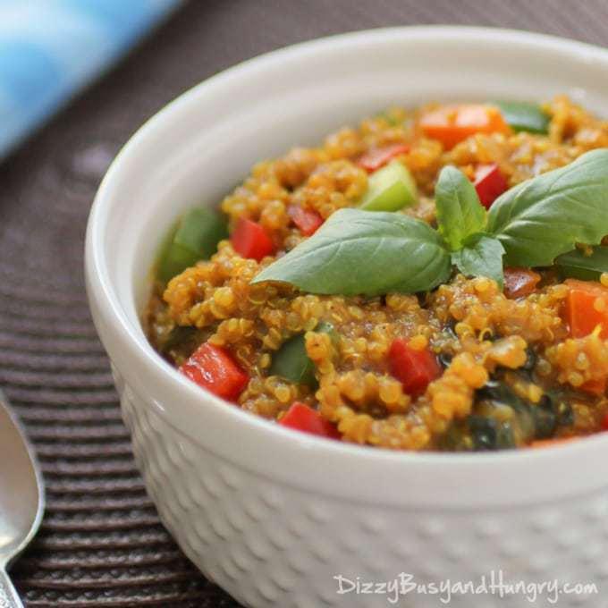 Spicy Veggie Quinoa Curry from DizzyBusyandHungry.com #vegan #healthy #quinoa