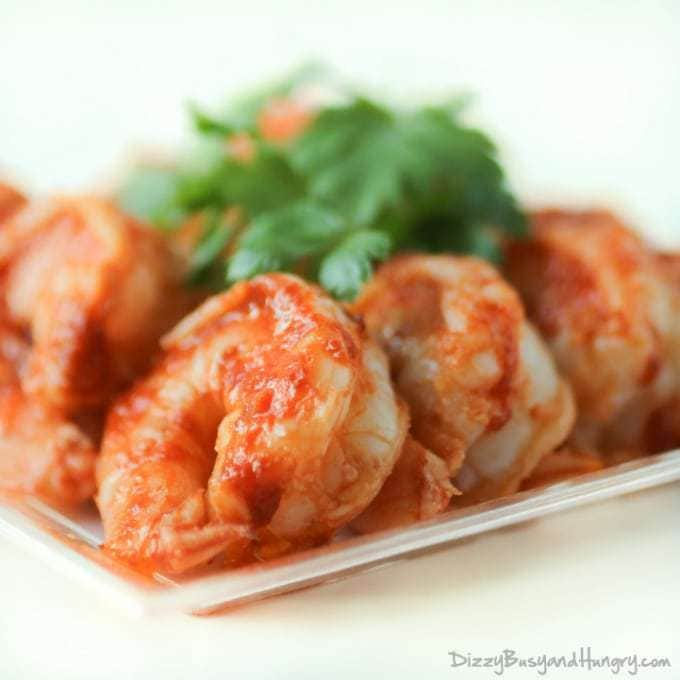 Sweet and Spicy Grilled Shrimp | DizzyBusyandHungry.com #shrimp #sriracha #maplesyrup