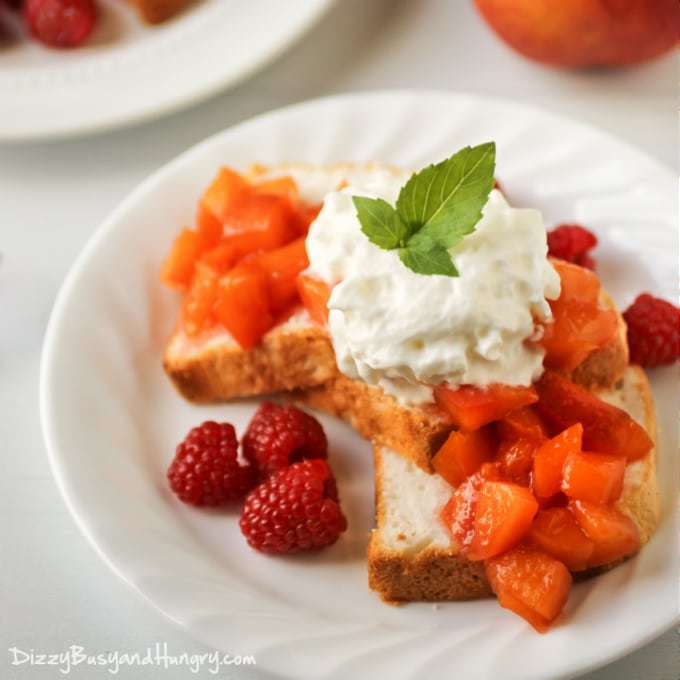 Nectarine Compote Dessert | DizzyBusyandHungry.com - Sweet and fruity nectarine topping, delicious served over angel food cake, pound cake, or even vanilla ice cream! #dessert #nectarines #compote
