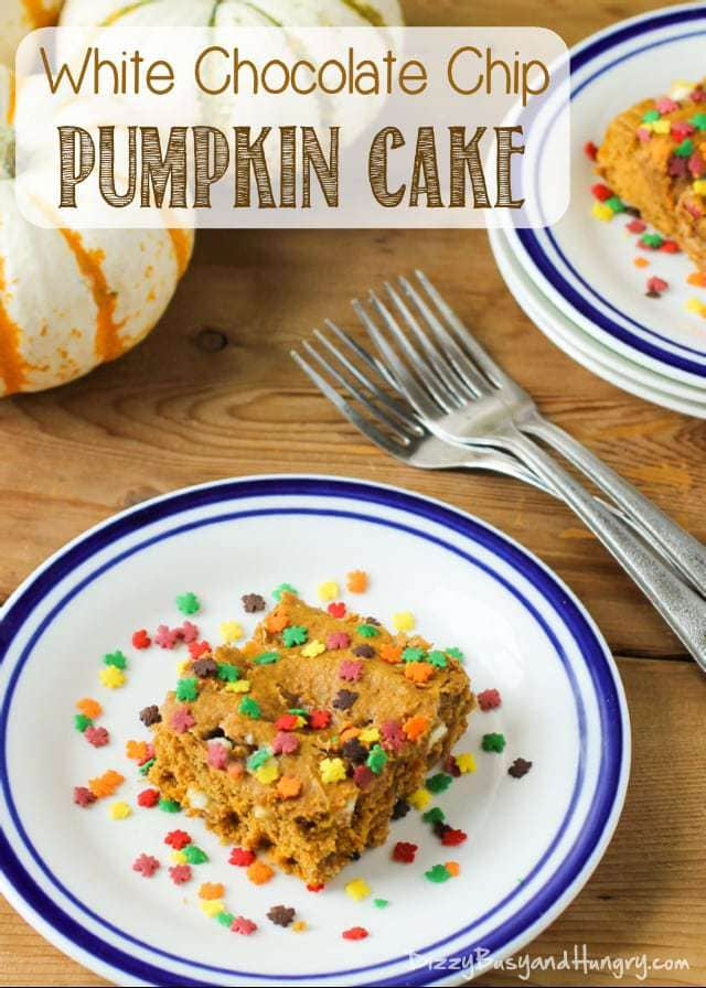 White Chocolate Chip Pumpkin Cake | DizzyBusyandHungry.com - Moist and delicious, this cake is super-easy to make and is a perfect dessert for fall and winter! #pumpkin #cake #whitechocolate #spicecake