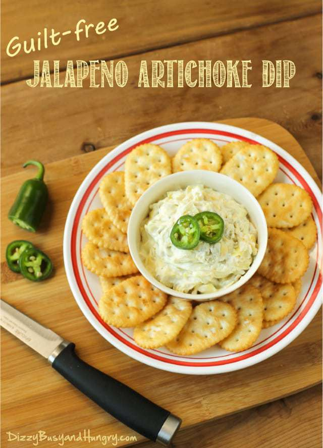 Guilt-Free Jalapeno Artichoke Dip | DizzyBusyandHungry.com - Creamy, cheesy, flavorful dip made with cream cheese, artichokes, and jalapenos, perfect for the big game or any party! #appetizer #healthy
