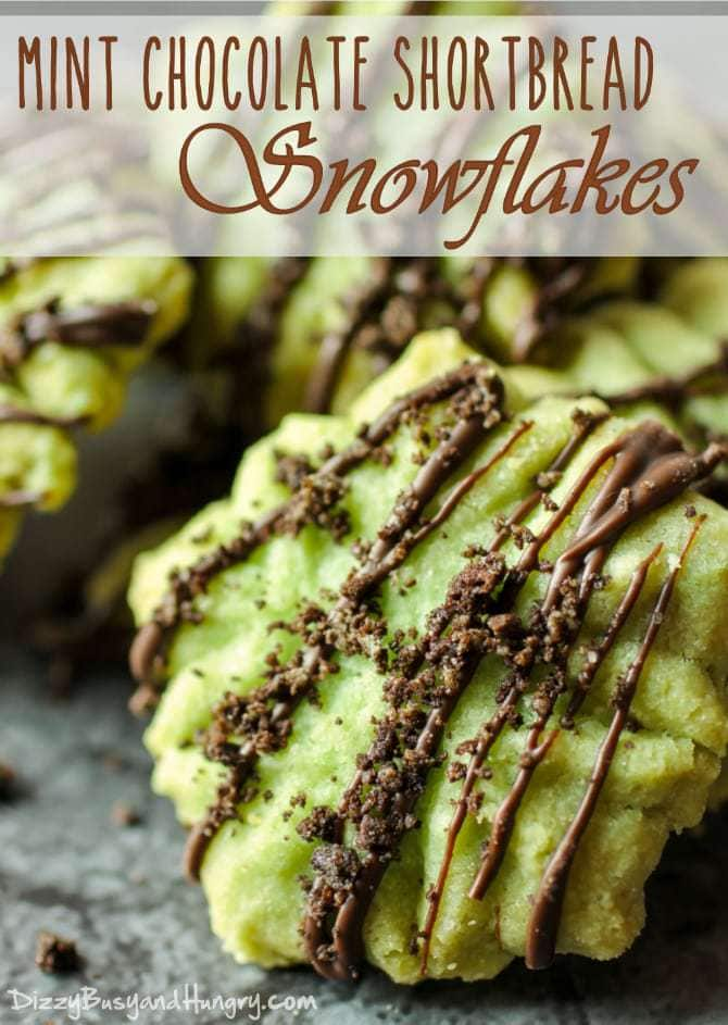 Mint Chocolate Shortbread Snowflakes | DizzyBusyandHungry.com - Delicious shortbread in snowflake shapes with a hint of mint flavor, drizzled with chocolate and garnished with crushed Cool Mint Oreos.